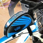 "B-SOUL Touch Screen Bike Top Tube Bag for 5.5"" Phones - Black + Blue"