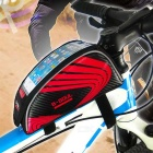 "B-SOUL Touch Screen Bike Top Tube Bag for 5.5"" Phones - Black + Red"