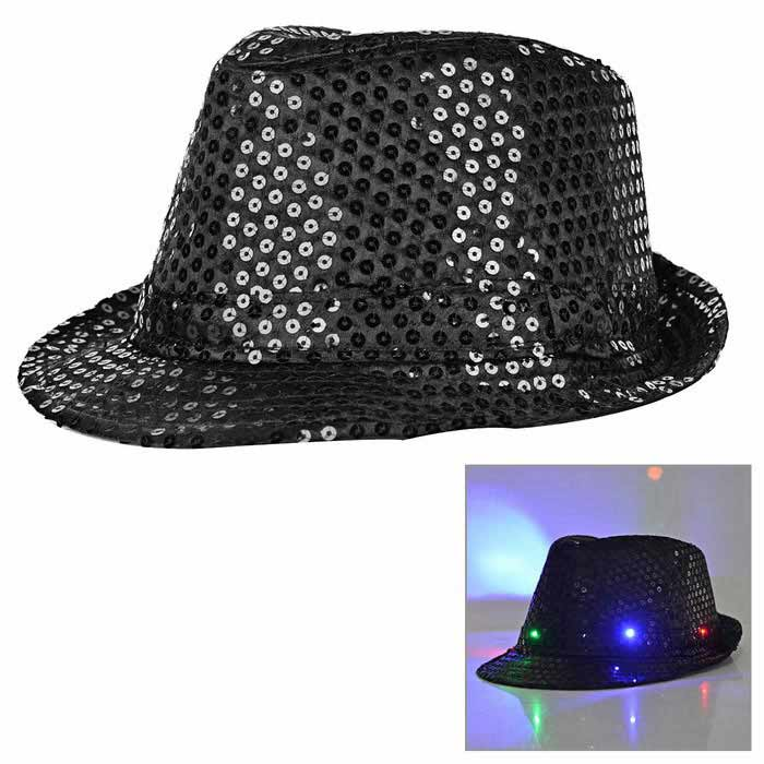 LED Light Flashing Sequins Jazz Hat - Black (3 * AG13)Caps and Hats<br>Form ColorBlackQuantity1 DX.PCM.Model.AttributeModel.UnitShade Of ColorBlackMaterialSatinGenderUnisexSuitable forAdultsStyleFashionStrap TypeNoSeasonsFour SeasonsHead Circumference58 DX.PCM.Model.AttributeModel.UnitOther FeaturesWith 6 LEDs (2: red light, 2: blue light, 2: green light);<br>3 modes: steady on, fast strobe, alternate strobe;<br>Can continuously work for 8~12 hours;<br>AG13 batteries are included; Batteries can be replaced.Packing List1 * Hat<br>