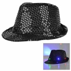 LED Light Flashing Sequins Jazz Hat - Black (3 * AG13)