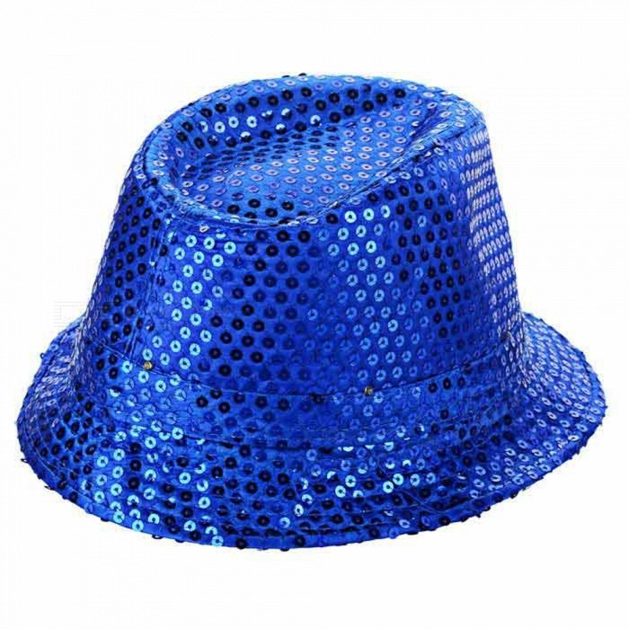 LED Light Flashing Sequins Jazz Hat - Blue (3 * AG13)Caps and Hats<br>Form ColorBlueQuantity1 DX.PCM.Model.AttributeModel.UnitShade Of ColorBlueMaterialSatinGenderUnisexSuitable forAdultsStyleFashionStrap TypeNoSeasonsFour SeasonsHead Circumference58 DX.PCM.Model.AttributeModel.UnitOther FeaturesWith 6 LEDs (2: red light, 2: blue light, 2: green light);<br>3 modes: steady on, fast strobe, alternate strobe;<br>Can continuously work for 8~12 hours;<br>AG13 batteries are included; Batteries can be replaced.Packing List1 * Hat<br>