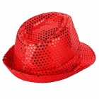 LED Light Flashing Sequins Jazz Hat - Red (3 * AG13)
