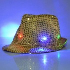 LED Light Flashing Sequins Jazz Hat - Yellow (3 * AG13)