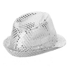 LED Light Flashing Sequins Jazz Hat - Silver (3 * AG13)