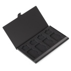 Portable Aluminum 4 SIM + 4 Micro SIM Card Storage Box Case - Black