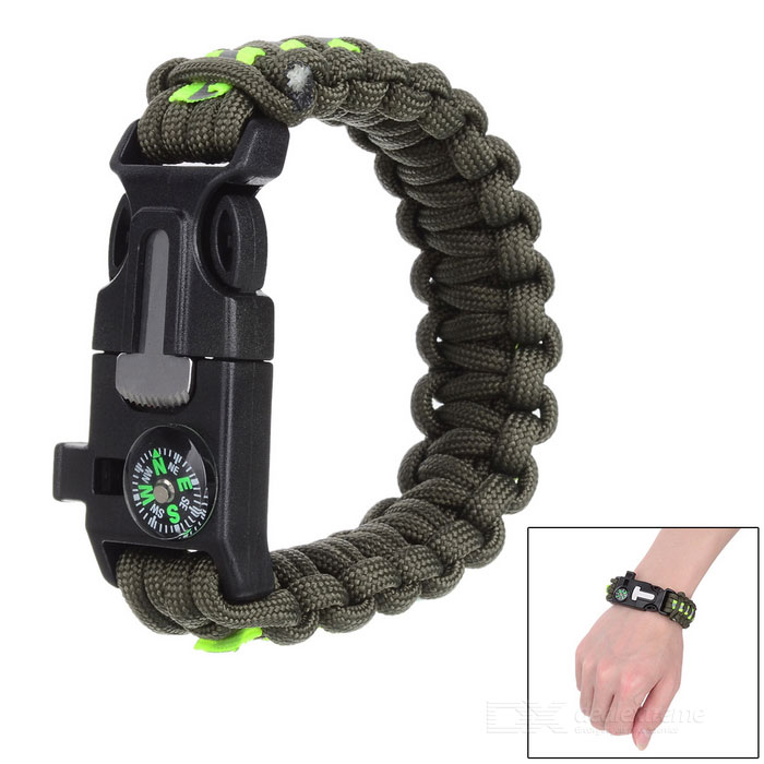 Outdoor Survival Paracord Bracelet - Army Green + Fluorescent Green