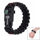 Outdoor Survival Paracord Bracelet - Black + Red