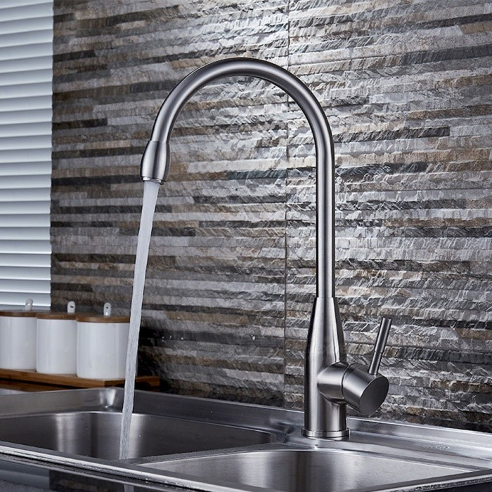 F-1895 304 Stainless Steel 360° Rotatable Kitchen Sink Faucet - SilverKitchen Faucets<br>Form  ColorSilverModelF-1895Material304 Stainless SteelQuantity1 DX.PCM.Model.AttributeModel.UnitFinishBrushedValve TypeCeramic ValveNumber of handlesSingleSpout Height26 DX.PCM.Model.AttributeModel.UnitSpout Length22 DX.PCM.Model.AttributeModel.UnitTotal Height44 DX.PCM.Model.AttributeModel.UnitPacking List1 * Faucet body2 * 50cm hoses3 * O-rings1 * Screw nut<br>