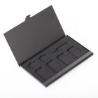 Portable Aluminum 4 SIM + 2 Micro SIM + 1 Pin Card Storage Box - Black