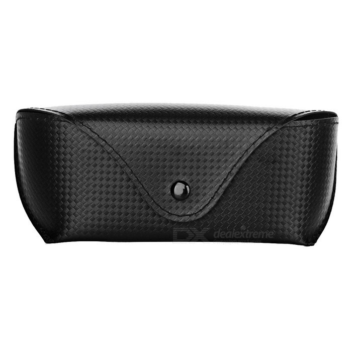 Portable Woven Snap Button Eye Glasses Case - Black