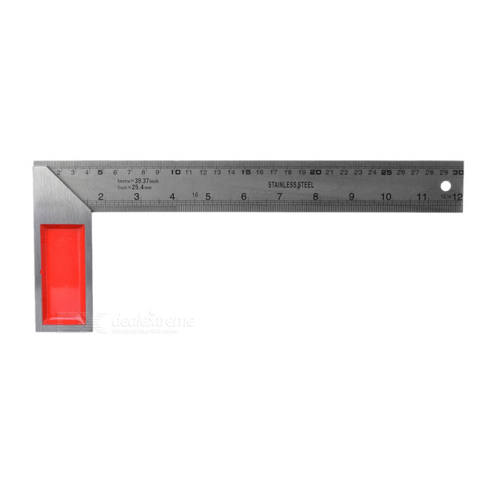 Multifunctional L Shape Right Angle Ruler - Silver + Red (300mm)