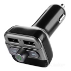 Dual USB Car Bluetooth V2.1 Power Charger MP3 Transmitter - Black