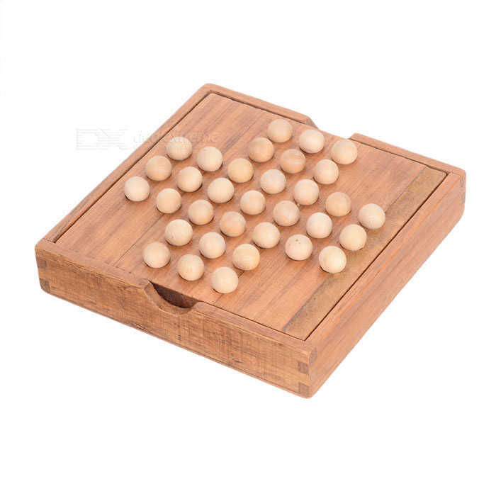 Portable Peg Solitaire Game Set in Rubber Wood Box - Wood Color