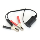 Qook Waterproof Motorcycle Clip-on Cigarette Lighter Socket - Black