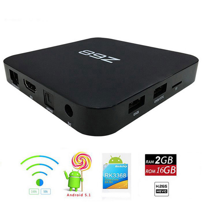 Z68 Octa-Core Android 5.1 Smart TV Box Media Player - Black (US Plugs)