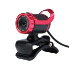 USB 2.0 0.5MP HD Camera Clip-on Webcam with Mic - Black + Red
