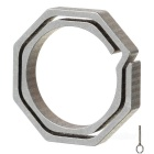 Octagonal Titanium Alloy Key Ring - Champagne + Grey (Small Size)