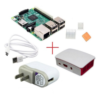 Raspberry Pi 3 Model B + Official Case + 5V 2.5A Plug + Heatsink Kit
