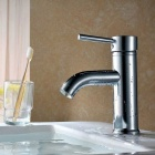F-0313 Chrome Finish Brass Single Handle Sink Faucet - Silver