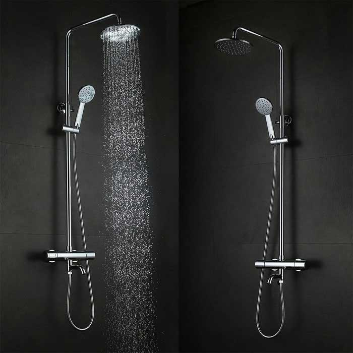 Wall Mounted Brass 38'C Smart Thermostat Shower Faucet Set - Silver