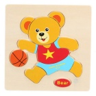 Bear Shaped Puzzle Wooden Blocks Cartoon Toy - Gul + Flerfarget