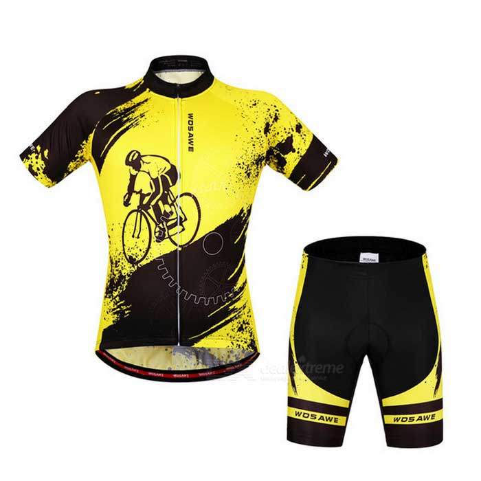 WOSAWE Unisex Cycling Short Jersey Top + Pants Suit - Yellow (XXL)