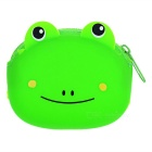 Stylish Cute Silicone Mini Zippered Coins Purse - Green + Black