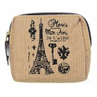Vintage Paris Printed Canvas Zippered Coin Wallet - Khaki + Brown