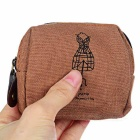 Vintage Paris Printed Canvas Zippered Coin Wallet - Coffee