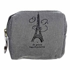 Vintage Paris Printed Canvas Zippered Coin Wallet - Dark Grey