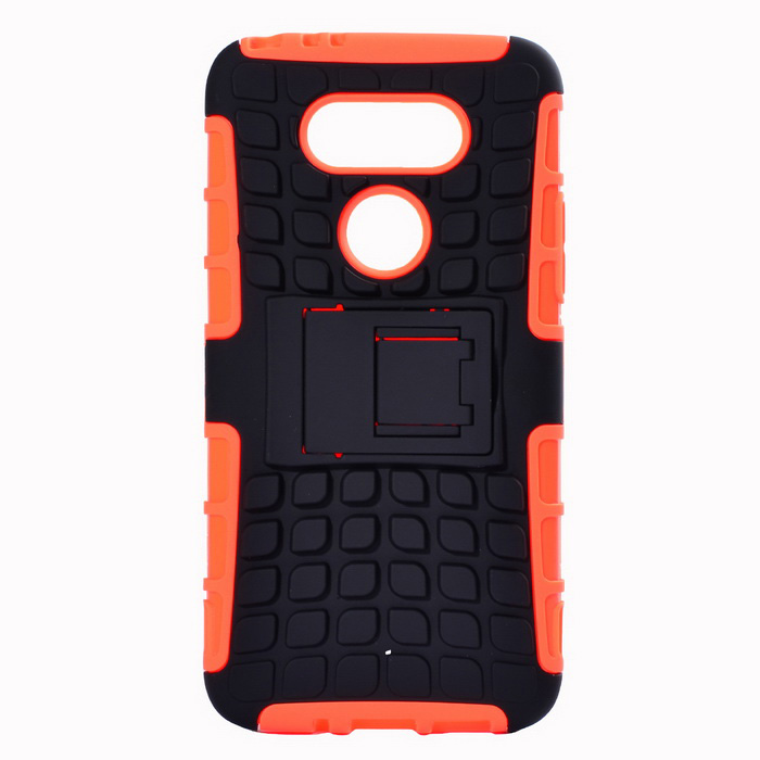 Armour Style TPU Back Case w/ Stand for LG G5 - Orange + BlackPlastic Cases<br>Form  ColorBlack + OrangeModelLG5MaterialTPU + PCQuantity1 DX.PCM.Model.AttributeModel.UnitShade Of ColorOrangeCompatible ModelsLG G5Packing List1*Case<br>