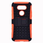 Armour Style TPU Back Case w/ Stand for LG G5 - Orange + Black