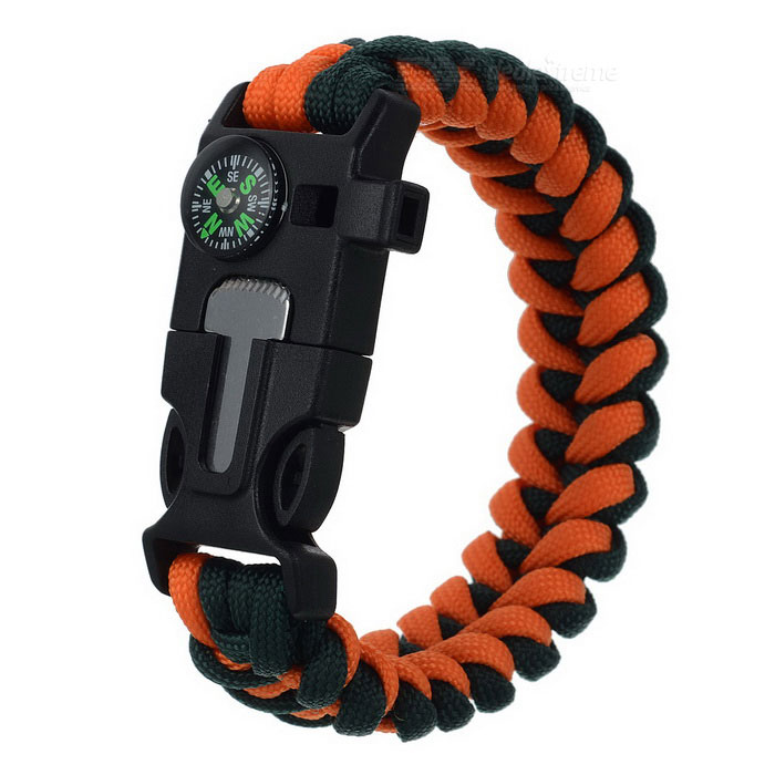 Outdoor Emergency & Survival Paracord Bracelet - Orange + Black