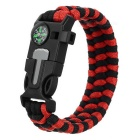 Outdoor Emergency & Survival Paracord Bracelet - Red + Black