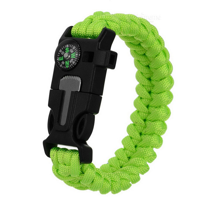 Outdoor Emergency & Survival Paracord Bracelet - Green + Black