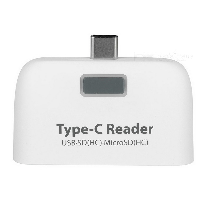 USB 3.1 Type-C USB SD(HC) MicroSD(HC) Card Reader Adapter - White