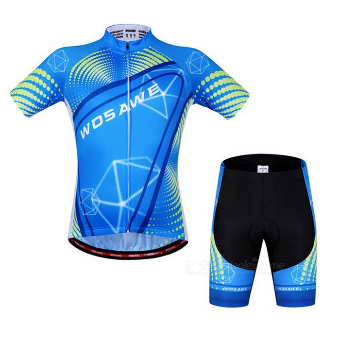 WOSAWE Unisex Cycling Short Jersey Top + Pants Suit - Azure (XL)