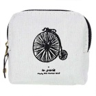 Vintage Paris Printed Canvas Zippered Coin Wallet - Light Grey + Black