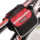 Yanho Oxford Cloth + Nylon Bike Top Tube Bag - Black + Red (1.5L)