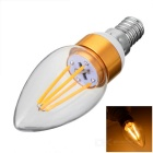 E14 4W 4-COB LED Warm White Light Bulb - White + Golden (AC 220V)