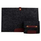 "Wool Felt Inner Bag + Accessory Bag Set for MAKBOOK AIR 11.6"" - Black"