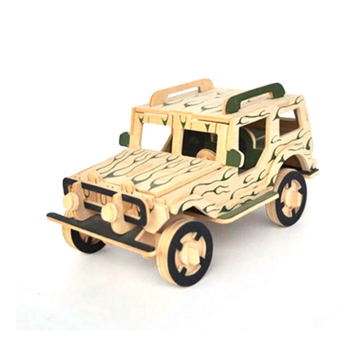 Dřevěné 3D Building Blocks Puzzle Model Car - Zelená + žlutá