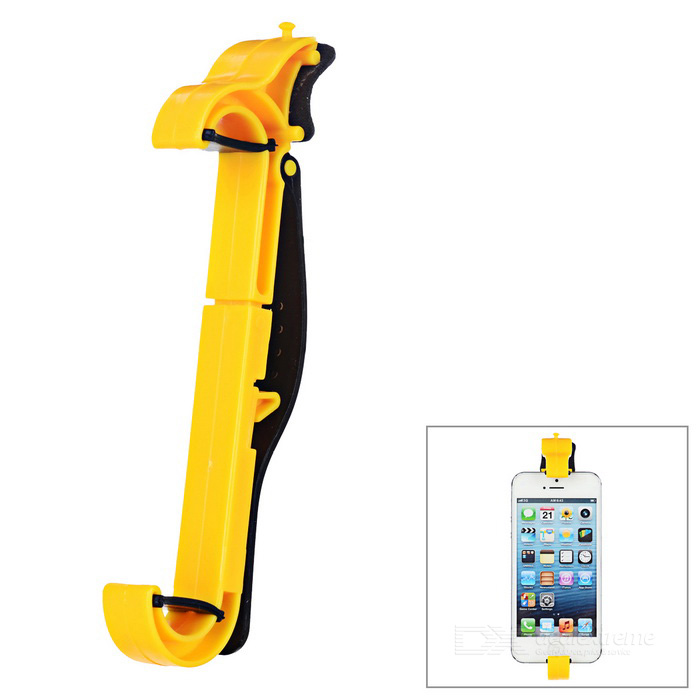 Car Steering Wheel Vertical Mobile Phone Mount Holder  - Yellow +Black
