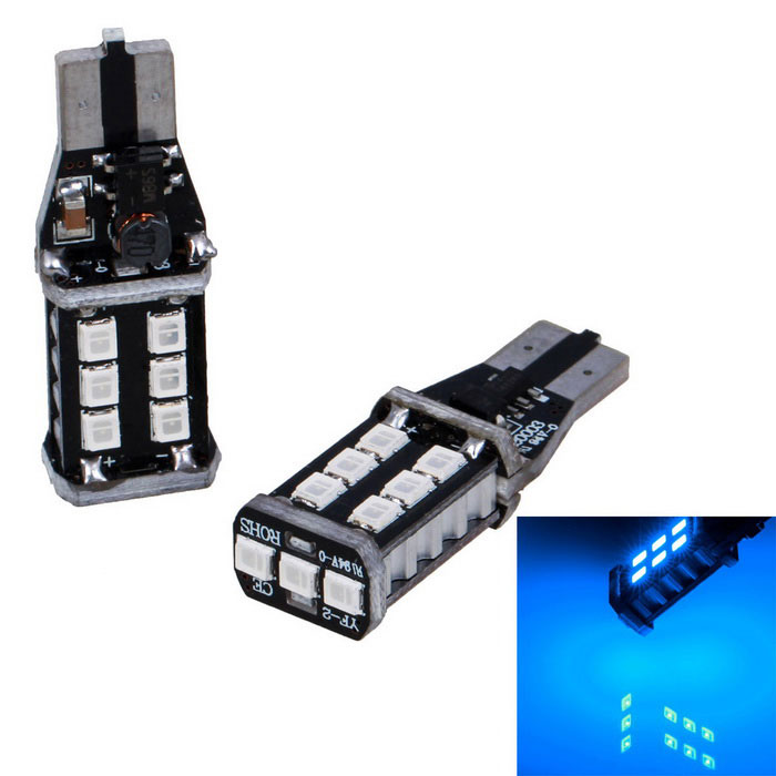 T15 16W 15 * 4014 SMD LED 450lm luz azul que invierte luces (2PCS)