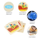 Ship Shaped Puzzle Wooden Blocks Cartoon Toy - Yellow + Multi-Colored