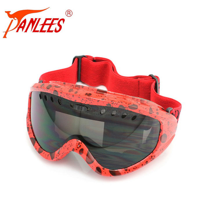Panlees Double PC Lenses TPU Frame Anti-fog Ski Goggles - Grey + Red