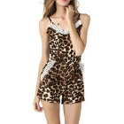 K5110 Sexy Lace V-Neck Harness Chiffon One-Piece Shorts - Leopard (S)