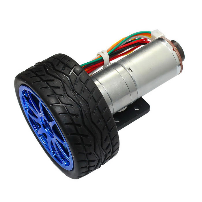 6V 210RPM motor de engranaje de CC con el codificador del pasillo - plata + multi-coloreado