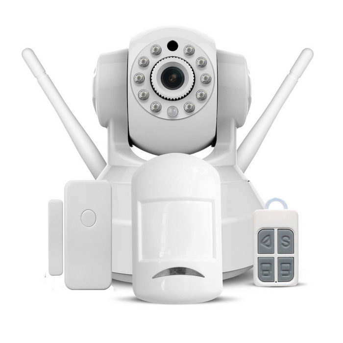 VESKYS 1.0MP HD Wireless Linkage Alarm IP Camera Set - White (UK Plug)IP Cameras<br>Form  ColorWhitePower AdapterUK PlugModelC37-ARMaterialABSQuantity1 DX.PCM.Model.AttributeModel.UnitImage SensorCMOSImage Sensor SizeOthers,1/4 inchPixels720P HD images,1.0MPLens3.6mmViewing AngleOthers,70 DX.PCM.Model.AttributeModel.UnitVideo Compressed FormatH.264Picture Resolution720P(1280*720),VGA(640*480), QVGA(320*240)Frame Rate25fpsInput/OutputBuilt-in microphone / audioAudio Compression FormatWMAMinimum Illumination0.3 DX.PCM.Model.AttributeModel.UnitNight VisionYesIR-LED Quantity10Night Vision Distance10 DX.PCM.Model.AttributeModel.UnitWireless / WiFi802.11 b / g / nNetwork ProtocolTCP,IP,HTTP,SMTP,FTP,DDNSSupported SystemsWindows 2000,2003,XP,Vista,7Supported BrowserIE 6.0 and aboveSIM Card SlotNoOnline Visitor4IP ModeDynamic,StaticMobile Phone PlatformAndroid,iOSFree DDNSYesIR-CUTYesBuilt-in Memory / RAMNoLocal MemoryYESMemory CardTFMax. Memory Supported64GMotorYesRotation AngleHorizontal: 355 degrees / Vertical: 120 degreesSupported LanguagesEnglish,Simplified Chinese,Traditional Chinese,Portuguese,KoreanWater-proofNoRate Voltage5VRated Current2 DX.PCM.Model.AttributeModel.UnitPacking List 1 * Wireless Alarm Host (IP Camera) 1 * Wireless infrared detector (3 * AAA batteries distribution) 1 * Wireless door / window detector (1 * CR2032 included) 1 * Remote controller 1 * AC power supply (UK plug / 110~240V / 140cm cable) 2 * Magnetic sticker 1 * Screw fittings kit 1 * Infrared detector holder 1 * IP camera holder 1 * English user manual<br>
