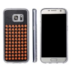 Woven Pattern Back Cover for Samsung Galaxy S7 Edge - Black + Orange